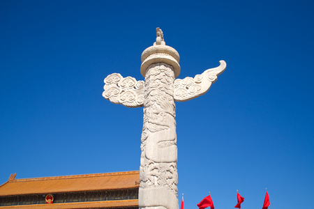 Chinese Marble Ornamental Pillar Standing In Tiananmen Square In Beijing, China