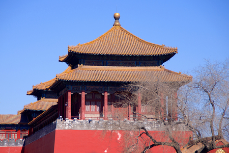 guard house: A Side Tower Along The Upright Gate Leading From Tiananmen Square Into The Forbidden City In Beijing, China