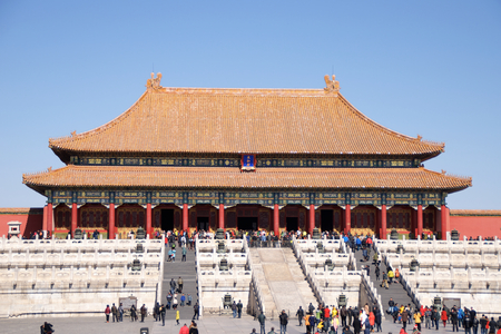 Chinese Visitors And Tourists Walking In Front Of The Hall Of Supreme Harmony In The Forbidden City In Beijing, China Editorial