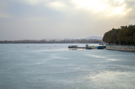 Frozen Kunming Lake During Winter Outside The Imperial Summer Palace In Beijing China