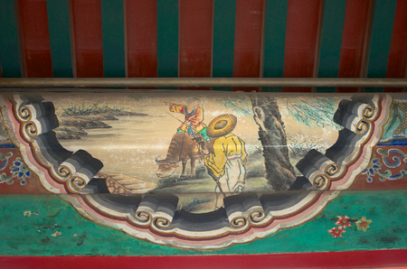 Traditional Chinese Art Adorning An Upper Wall Within The Imperial Summer Palace In Beijing China