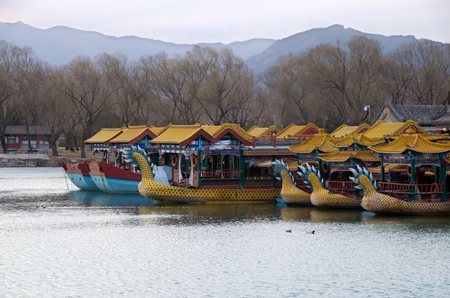 Chinese Tourism River Boats On Kunming Lake Outside The Summer Palace