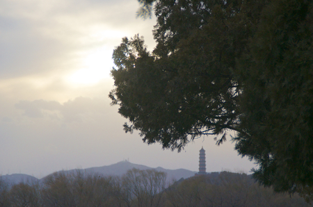 Yellow Cloudy Sky With Trees In The Foreground And An Ancient Traditional Chinese Tower