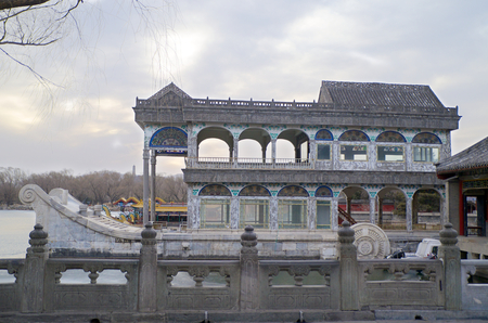 The Marble Boat On Lake Kunming At The Summer Palace In Beijing China