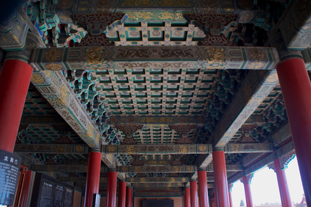 Traditional Chinese Ornamentation And Design On The Ceiling Of A Building Within The Forbidden City In Beijing, China