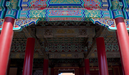 Traditional Chinese Ornamentation On The Ceiling Of A Building Within The Forbidden City In Beijing, China