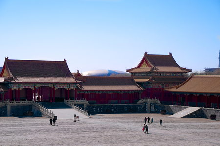 Courtyard In The Forbidden City With Beijing National Stadium Editorial