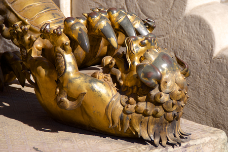 Bronze Chinese Guardian Lion Cub Statue In The Forbidden City In Beijing, China
