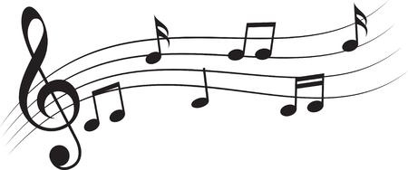 Music notes treble clef Stock Illustratie
