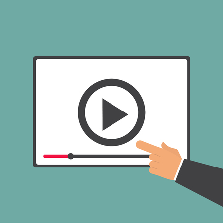 Video player with hand in flat style Ilustrace