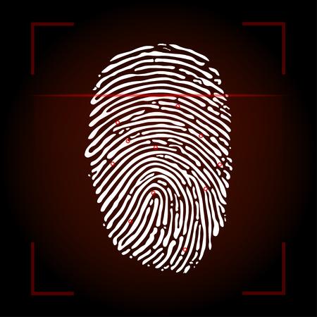 Fingerprint scan on red background Illustration