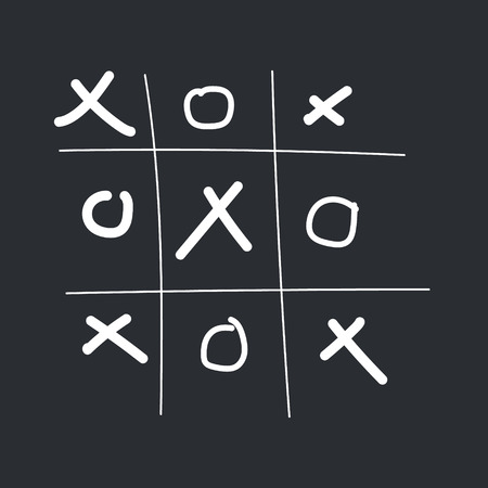 tic-tac-toe Game hand drawn on the black background