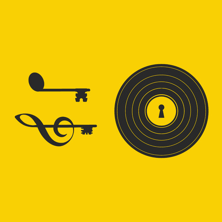 Vinyl lock with open keys made out of a note and a clef