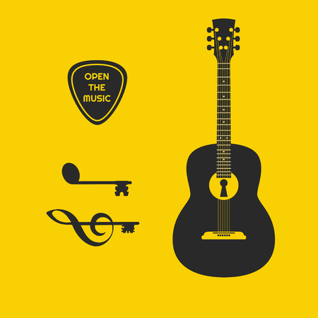 Guitar with lock and note and clef as keys