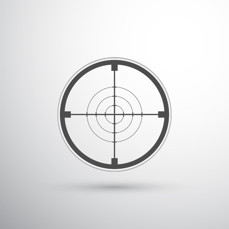 sniper scope target dark grey on light grey background. cross-hair. four circles