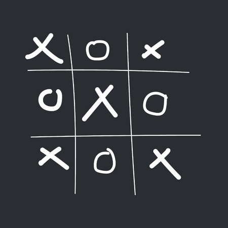 tictactoe game. White xo and the grid on the black background Stok Fotoğraf - 88566444