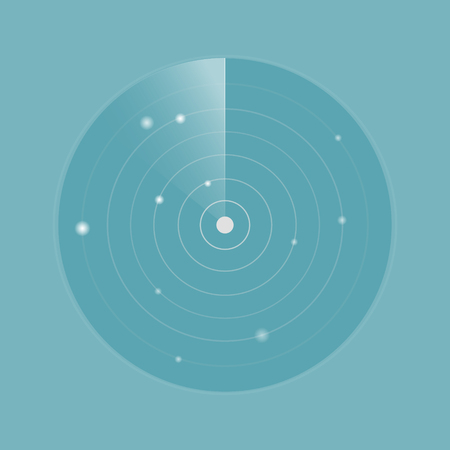 Minimalistic light radar concept, blue background