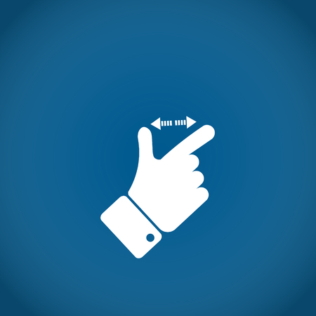 trackpad: Fingers zoom in white hand on the blue background