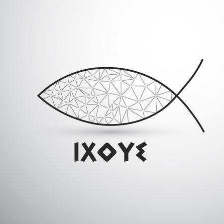 Christelijke vis Ixoye op de lichte achtergrond met schaduw
