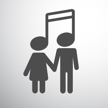 Musical couple concept, boy and girl, note instead of head