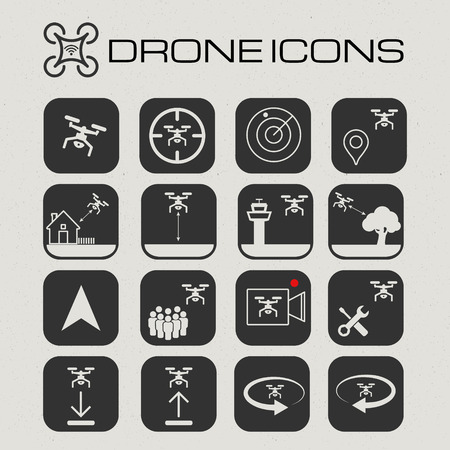 tree service pictures: Drone or quadcopter icon set. app icons.  Stock Photo