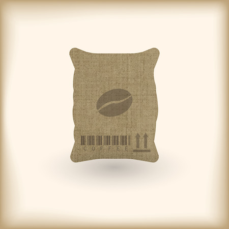 coffee sack with coffee bean Vector illustration.