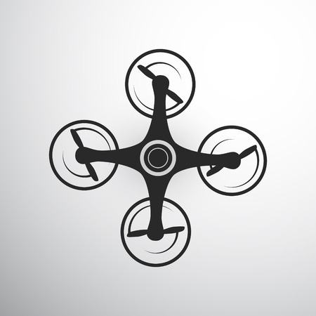 Drone or quadcopter icon. isolated on grey background. Air Drone icon Stock Photo