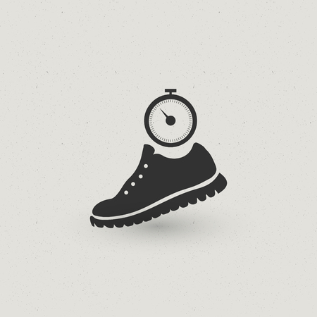Running Shoe and stopwatch dark grey icon