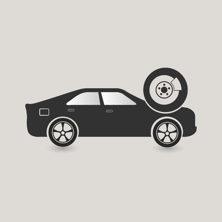 Dark Grey Car Drum Brake System Service Illustration