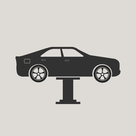 Car maintenance icon, car lifted up