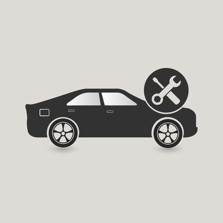 Car maintenance icon, check and fix Stock Photo