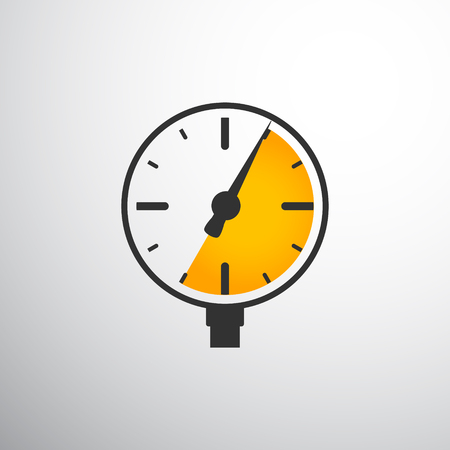Barometer pressure gauge on black and yellow color icon design