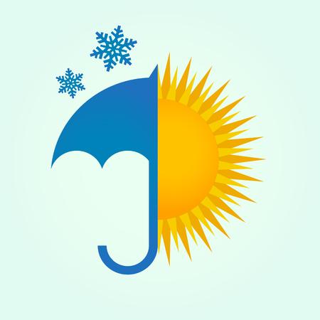 Umbrella Snow and Sun Illustration