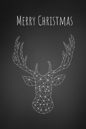 Geometrical Triangle Raindeer Christmas Card on Black Background, card or phone wallpaper Illustration