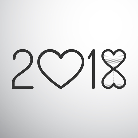 Year 2018 with hearts and sand watch isolated black on white Иллюстрация