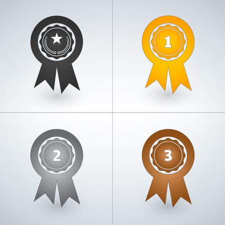 Champions gold, silver and bronze award badges. First, second and third places awards. Vector illustration isolated on light background