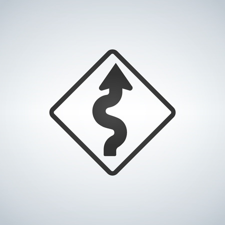 Winding Curve Road Sign, black vector illustration isolated on light background