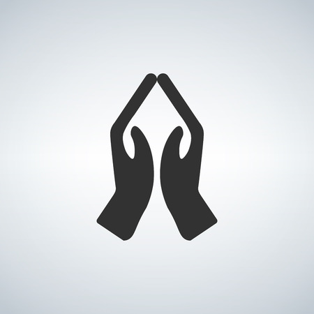 Hands praying icon, black vector illustration isolated on light background Ilustração