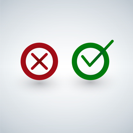 Tick and cross signs. Green checkmark OK and red X icons, isolated on white background.