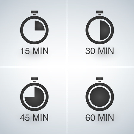 Every 15 minutes timer set. Vector illustration, isolated on light background Vettoriali