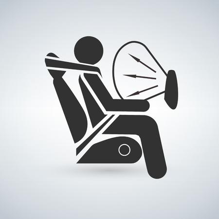 Zwart airbag teken