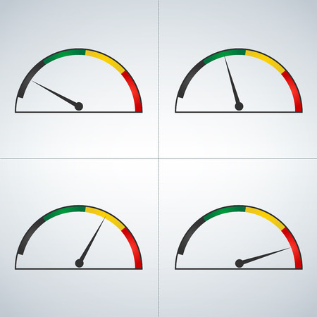 Vector set of colored gauges showing power levels from low to high. Minimum to Maximum. Min to Max. vector illustration isolates on light background