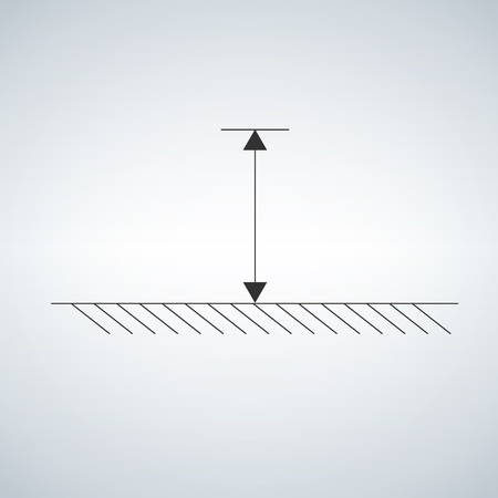 schematic arrow that shows mesurement high from the ground r object. Vector illustration isolated on light background