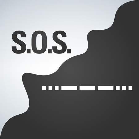 lettering sos three dashes from morse vector illustration Illustration