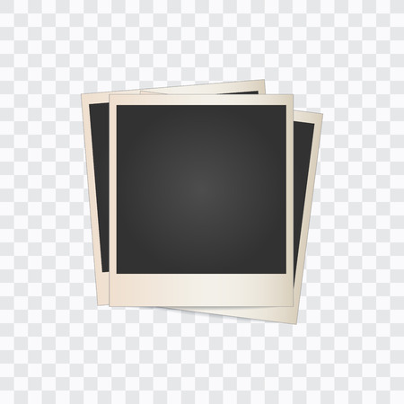 three blank photo frames on a transparent background. Vector illustration. Imagens - 91726621