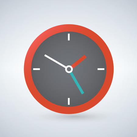 Clock flat icon, vector illustration Foto de archivo