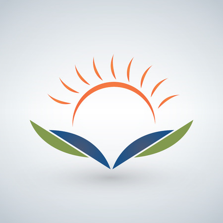 Knowledge logo design template concept, Sunset and open book illustration.