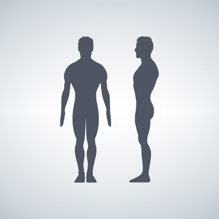 Vector illustration of man s figure. Silhouettes. Front or back, side views, isolated on white background Vettoriali