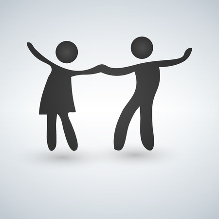 Vector symbol of a dancing couple. Isolated vector illustration