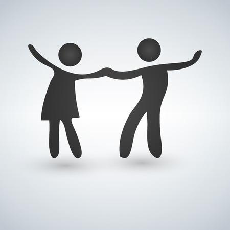 Símbolo de vetor de um casal dançando. Ilustração vetorial isolado